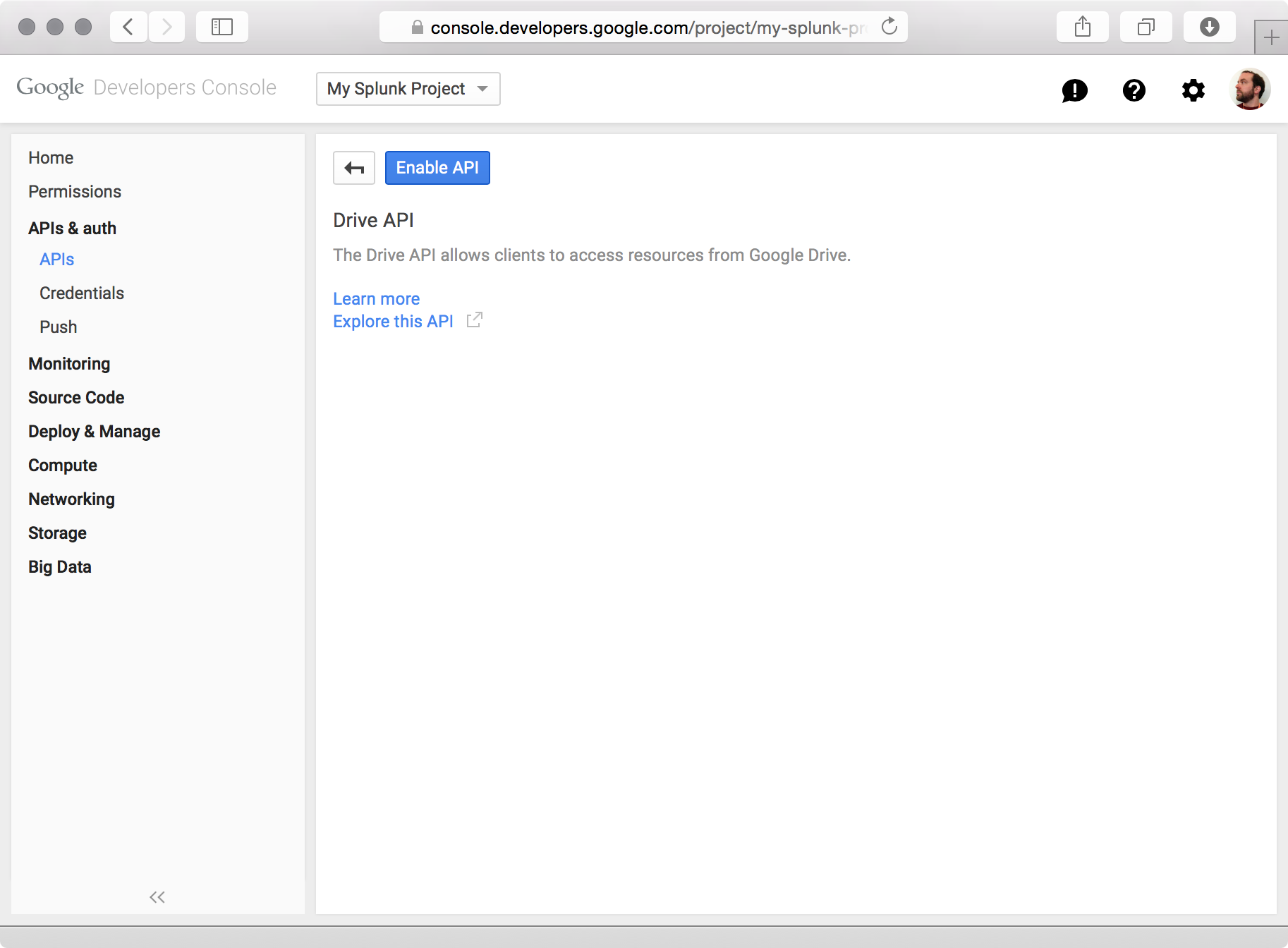 Image of the Google Developers Console, Drive API section