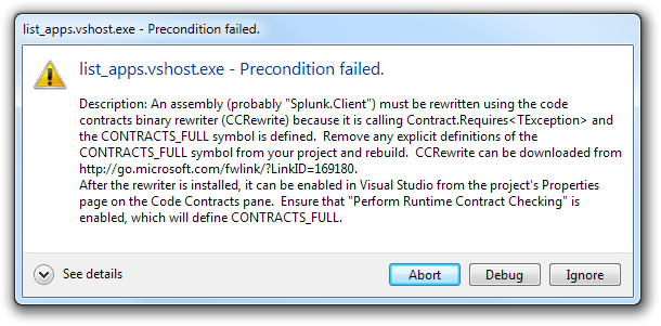 Error window: list_apps.vshost.exe - Precondition failed.
