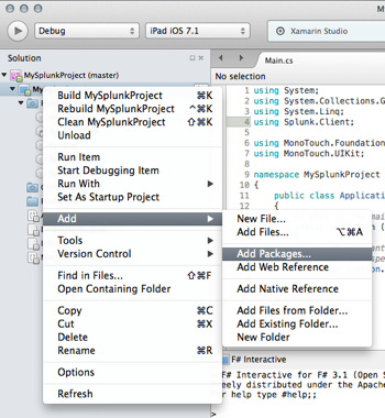 Screen shot of the Xamarin Studio Solution pane