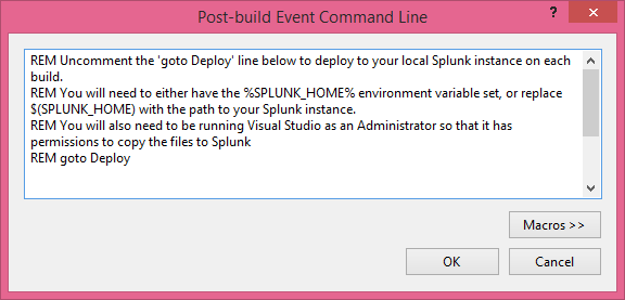 Screen shot of the Post-build Event Command Line window in Visual Studio